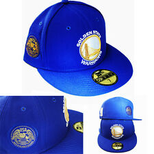 New Era NBA Golden state Warriors 5950 Blue Fitted Hat USA Gold Side Patch Cap
