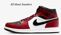"""Air Jordan 1 Mid """"Black/Gym Red/Black"""" Men's Trainers Limited Stock All Sizes"""