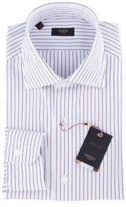 NWT BARBA NAPOLI SHIRT Culto white brown striped handmade Italy 40 15 3/4