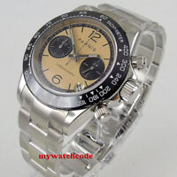 39mm PARNIS beige dial sapphire glass date full Chronograph quartz mens watch