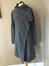 Adidas SLVR Women's Artsy Draped Knit Poncho Wool Sweater Coat S Gray New