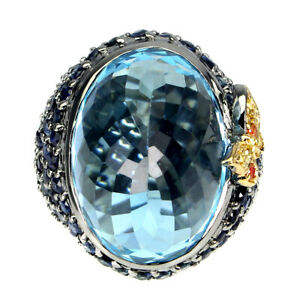 Handmade Natural 28 Ct Swiss Blue Topaz Blue Sapphire 925 Silver Ring 8 Special