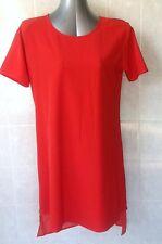 Lumier Red Tunic Dress, Asymmetric Hem, Short Sleeve, Above Knee Sz L - 14 NWOT