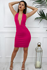 Womens Ladies Halterneck Low V Plunge Celeb Bodycon Glam Party Dress S Pink