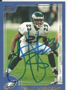 Troy Vincent Philadelphia Eagles/ Wisconsin Personally Autographed Card