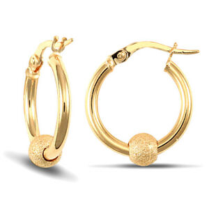 Jewelco London 9ct Yellow Gold Moondust Frosted Ball 2mm Hoop Earrings 16mm