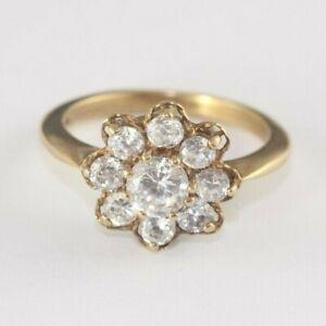 Vintage 9ct Gold Floral Cluster Ring 4.1g Size P