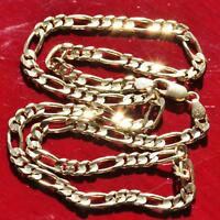 "14k yellow gold Italian 18.25"" diamond cut figaro link chain handmade 16.5g N230"
