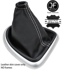WHITE STITCH REAL LEATHER SHIFT BOOT FITS NISSAN QASHQAI DUALIS J10 2006-2013