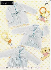 "Hayfield 1077 Vintage Baby Knitting Pattern, DK 16-20"" Cardigans Matinee Jackets"