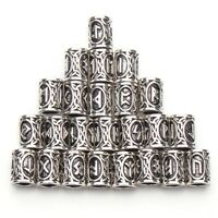 Viking Norse Beard Hair Beads Rings Set of 24 Futhark Runes Stainless Steel