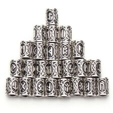 Viking Norse Beard Hair Beads Rings Set of 24 Futhark Runes Stainless Steel