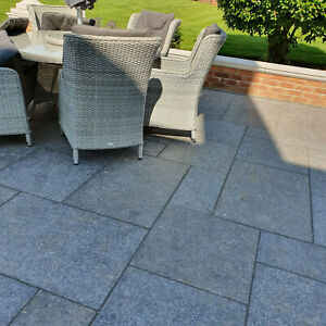Ash Black Granite 600x900 Paving Flags Slabs pavers  patio kits