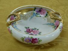 Antique Imported Porcelain Nut Bowl with 24kt Gold, Inward Facing Handles,7� dia