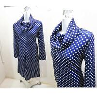Vintage 60s 70s Mod Polka Dot Dress size L Navy Blue Jersey Cowl Neck Long sleev