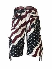 NEW MEN'S FOCUS AMERICAN FLAG CARGO SHORTS SIZE: 30 TO 44