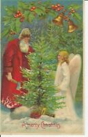 ~Santa Claus with ~Pretty Angel & Christmas Tree~Bells~Antique Postcard-a386