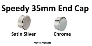 Speedy Poles Apart 35mm End Cap Curtain Pole Finials, 2 Pack Chrome-Satin Silver