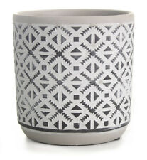 14cm Céramique Fleur Pot Rond Pot de Fleur Blanc Avec Noir Motifs