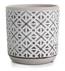 14cm Ceramic Flower Pot Round Planter Plant Pot White with Black Patterns
