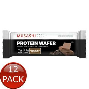 12 x MUSASHI PROTEIN WAFER CHOCOLATE FLAVOUR 40g SNACK BARS PANTRY POST WORKOUT