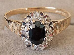 Vintage 9ct Yellow Gold, Onyx & Diamond Engagement Ring - Size N - UK Hallmarked