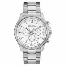 Bulova Chronograph Stainless Steel Men's Watch 96B335 White Dial