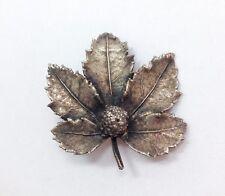 Vintage Signed Flora Danica Eggert Leaf Pin Brooch Sterling Silver 925 Denmar...