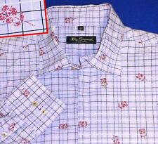 4 XL BEN SHERMAN LAVENDER BLACK WINDOWPANE RUST FLORAL PRINT  MENS SHIRT