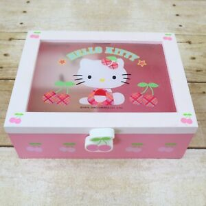 Vintage Hello Kitty Music Jewelry Box Wood Pink Cherries Sanrio 2003 Tested Work