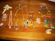 Kids costume jewelry (4) necklaces hearts Enesco MOM pin clip girls barrettes