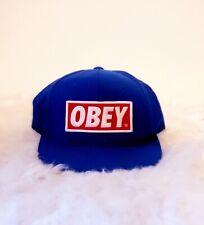 OBEY Blue Snapback Hat Red Logo Adjustable