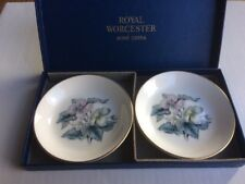 Royal Worcester 2x plates pin dishes boxed fine bone china woodland pattern