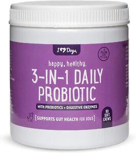 iHeartDogs 3-in-1 Probiotic w Prebiotics & Digestive Enzymes Gut Health 90 chews