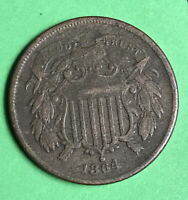 1864  2c Two Cent Piece Vf Very Fine Civil War Date First Year Of Issue