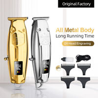 Rechargeable Cordless Hair Clipper Trimmer Professional Barber Gold LED
