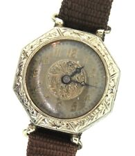 Vtg Deco Gallet & Co Pioneer W.C.Co. 14K White Gold 15 Jules Octagon Watch AS IS