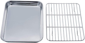 Toaster Oven Tray and Rack Set Stainless Steel Toaster Oven Pan Broiler Pan