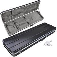ABS Molded Electric Bass Case Hardshell Rectangular Strat/Tele Style Lock Latch