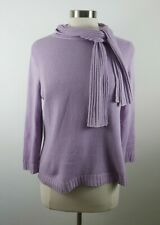 Talbots Womens Silk Cashmere 3/4 Sleeve Pastel Purple Sweater Scarf Accent M