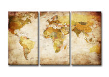 Images world map 3pts 1166 XXL Canvas framed 63x35''TOP Brand Visario