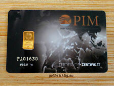 1 Gramm Goldbarren PIM Scheckkarte (NADIR 1g 999,9 Gold Barren zertifiziert) NEU
