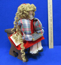 Wood Wooden Handmade Doll & Old Fashion School House Desk Miniature Joyce