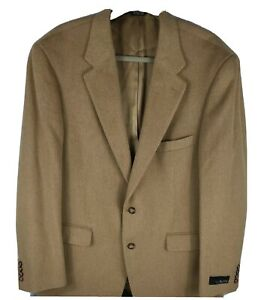 NWT Bill Blass Men's Brown Camel Hair 2 Front Button Sports Coat Sz 44L
