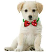 Pet Dog Cat Christmas Accessories Bow Tie Adjustable Necktie Collar Bowtie UK