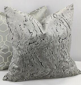 "KAI IZAR PLATINUM SILVER Handmade Cushion Cover Velvet Marble Effect 18""x18"""