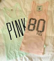 Lot 2 Victorias Secret PINK Tank Tops Green Size XS Ribbed Loose Racerback Studs
