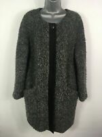 WOMENS FRENCH CONNECTION GREY BOUCLE POPPER COLLARLESS SMART WINTER COAT UK 10