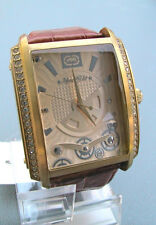 """NEW MARC ECKO MEN'S """"The OG"""" Gold Tone Three Hand Brown Leather Watch E12568G1"""