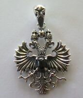 BLACK STAR BYZANTINE DOUBLE-HEADED EAGLE STERLING 925 SILVER MENS PENDANT